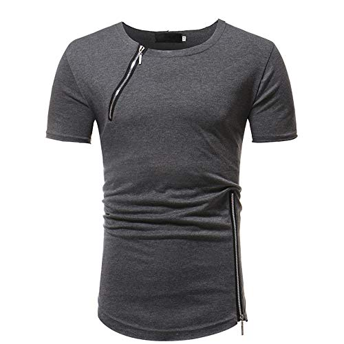 ZYYM Men's T-Shirt Cotton Short Sleeve Round Neck T Shirts Summer Sports Tees Tops Mens Short Sleeve T Shirt Half Sleeve Undershirt Solid Crew Neck Slim Fit T-Shirt Plain Casual T-Shirt