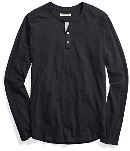 Goodthreads Men's Long-Sleeve Lightweight Slub Henley, Caviar/Black, X-Large