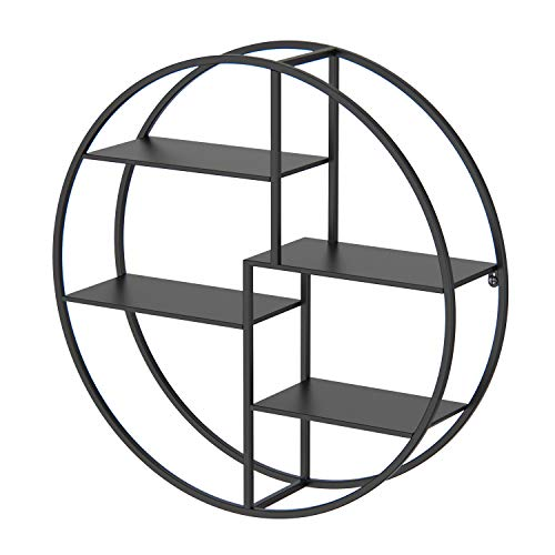 Wandregal (60*60*14cm) modern aus Metall, rundes Schweberegal, Gewürzregal im Industrie Design, Küchenregal mit 4 Böden, für Schlafzimmer, Wohnzimmer, Flur, Büro und Hotel Wanddeko(Schwarz)