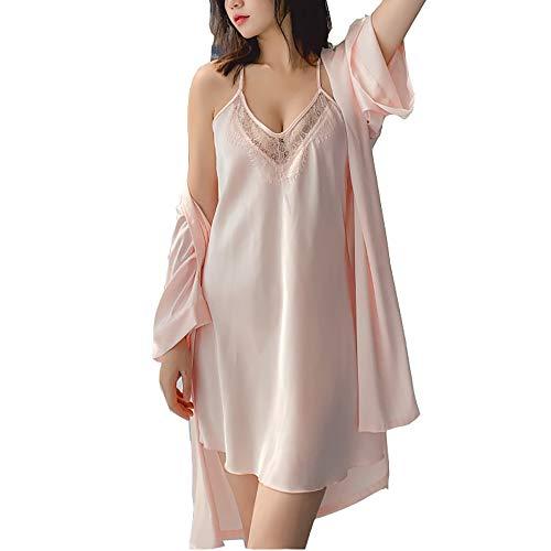 Loungewear Camisones Vestir Ropa Interior Sin Mangas para Mujer Deslizamiento Completo Chaleco Anti Estático Deslizamiento Completo Underskirt Ladies Sedoso Dormir (M-XL) Pink-M