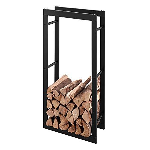 RANSENERS Metall Kaminholzregal Feuerholzregal Brennholzregal Schwarz 40x27x150cm Stapelhilfe Aussen und Innen