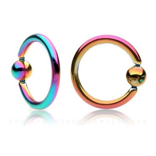Diseño de arco iris anillo muelles IP de titanio de cuentas
