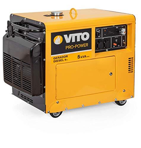 VITO Professional 5KVA 9PS Silent Leise Diesel Stromerzeuger 4500W 230V 72db LWA Schallgedämmter Notstromaggregat E-Starter (VIGD5SH 5kVA)
