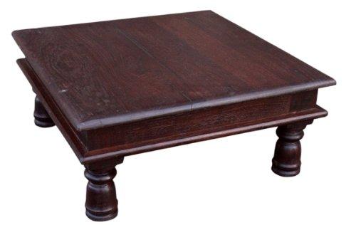 Guru-Shop Kleiner Tisch, Blumenbank, Kaffeetisch, Beistelltisch, Couchtisch - Modell 1, Braun, 17x38x38 cm, Kaffeetische & Bodentische