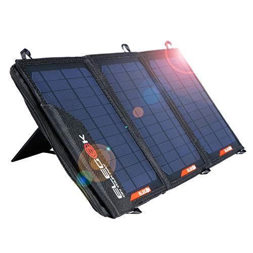 Foldable Solar Panel Charger 21W Folding Solar Panel USB + DC Output ELEGEEK Solar Charger with Adjustable Stand and Zipper Storage Bag for Cellphone iPad Gopro Camera Car Battery Emergency