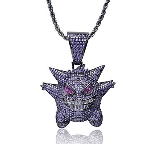 N/ Urbanice - Collar Gengar Hip Hop Diamantes con Cadena (Purpura)