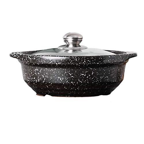 YWSZJ No pegue Olla Cacerola de cerámica Resistente al Calor Maifan Piedra con Tapa de Vidrio Sopa de Olla Caliente for una cocción Lenta Bibimbap