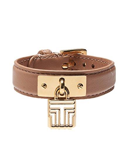 Tory Burch ID Plaque Leather Bracelet, Nutmeg