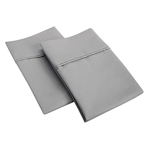 SGI bedding 550 Thread Count 100% Egyptian Cotton Standard/Queen Pillowcase Size 20X30 Light Grey Solid (Pack of 2)
