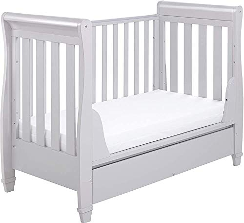 Modern and Stylish Pine Wood Crib Multifunction Easily Converted into a Small Bed/Sofa/Day Bed Suitable from Birth to About The Age of Four,Grey