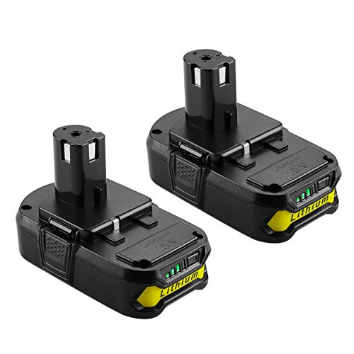 Yabelle 2Pack 2500mAh Replacement Ryobi 18V Lithium Battery for Ryobi 18-Volt ONE+ Battery P104 P105 P102 P103 P107 Ryobi ONE+Plus Power Tool Battery
