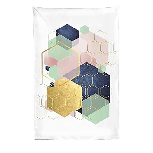 Hexágono geométrico verde dorado