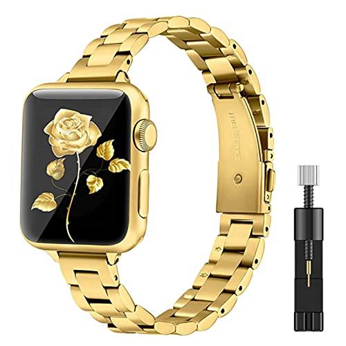 Pulsera de metal para mujer para Apple Watch40 mm 44 mm Band Series 6/5/4/3/2/1 Correa de muñeca delgada de acero inoxidable para iWatch SE 6 bandas-dorado y herramienta, 40 mm o 38 mm