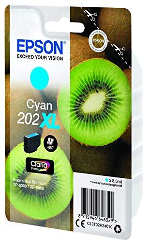 Epson 202XL - Cartucho de tinta para impresoras, cian, 8.5 ml, 650 páginas, válido para los modelos Expression Premium XP-6000, XP-6005 y otros, Ya disponible en Amazon Dash Replenishment