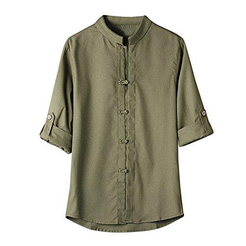 Eaylis Herren Weste T-Shirt Tops LäSsige Kurzarm Hemden Sommer Im Chinesischen Stil Gehaltenes, Einfarbiges Hemd Mit Schnalle