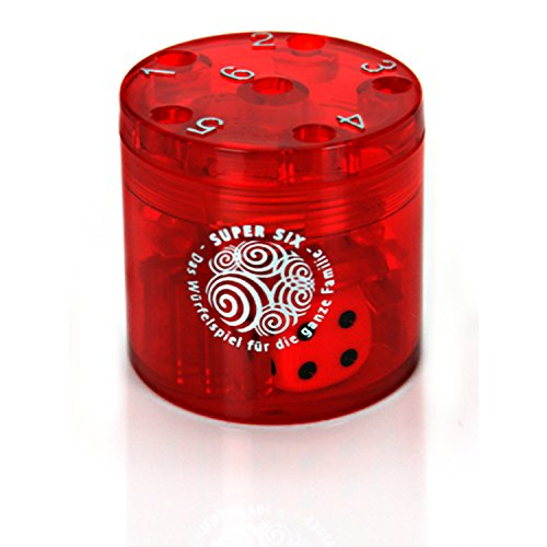 BestSaller 3011 SUPER SIX 'Travel' aus ABS, 5xØ5cm, auch für die Reise, 36 Spielstäbchen & 2 Würfel, rot (1 Stück)
