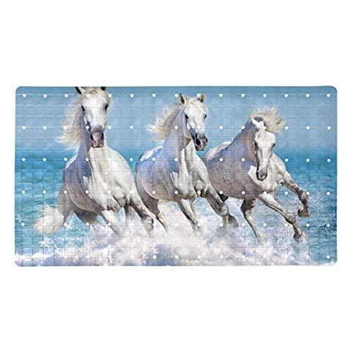 GORDESC Alfombrillas de baño originales (39,8 x 70,9 cm), tres caballos de correr, color blanco, azul y azul cielo con impresión para adultos y niños, bañeras suaves y sin textura