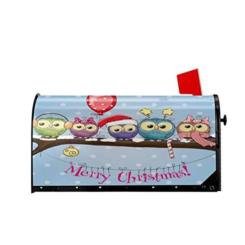 Gruß Weihnachten mit Fünf Zwergen und Fünf Eulen Magnetische Mailbox Abdeckungen Willkommen Mailbox Wraps Post Briefkastenabdeckung Garten Wohnkultur 21x18 Zoll