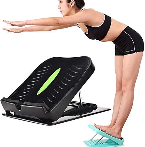 ZGHYBD Adjustable Plastic Slant Board Calf Stretcher -Slip Design Beneficial to Skinny Legs Relieve Fatigue, Portable Slant Board, Incline Slant Boards for Calf, Adjustable 4 Level (Black)