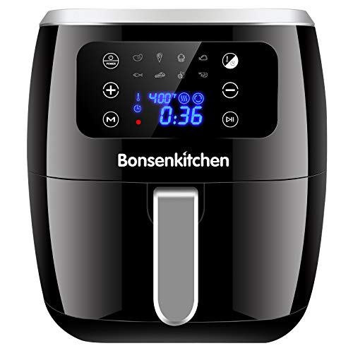 6QT Large Capacity Air Fryer, Digital Touch Screen Deep Fryers, 8 Presets for Fry, Roast, Dehydrate & Bake with Nonstick Basket , 1700W, Compact & Lightweight Airfryer