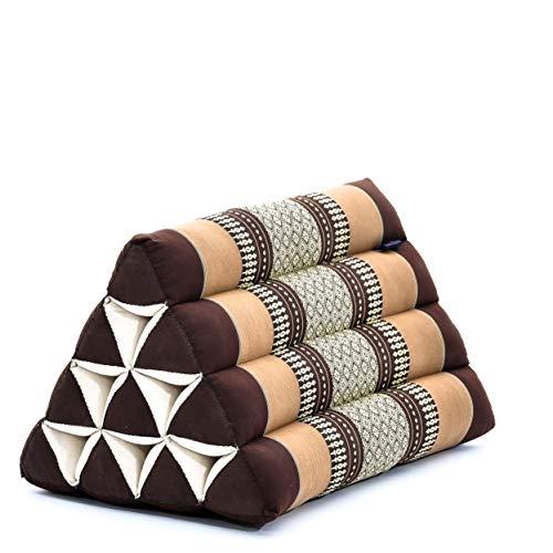 Leewadee Almohada Triangular tailandesa – Cojín de kapok sin Tratar, Respaldo cómodo para Leer, Almohadilla Hecha a Mano, 50 x 33 x 33 cm, marrón
