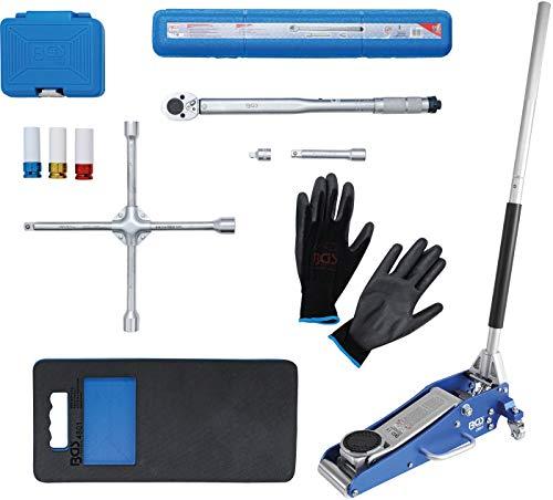 BGS 9680 | Radwechsel Spar-Set | 10-tlg | Wagenheber 1,5 t | Drehmomentschlüssel | Felgen-Schon-Einsätze | Knieschoner | Kreuzschlüssel | Handschuhe