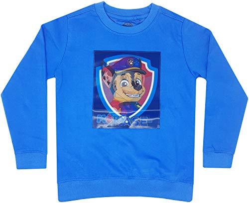 Paw-Patrol - Jungen Sweatshirt, Pullover mit interaktivem Wackelbild, Blau (98-104)