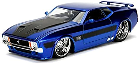 NEW 1:24 DISPLAY JADA TOYS COLLECTION - 1973 Ford Mustang Mach 1 Blue with Black Stripes BigTime Kustoms Diecast Model Car By Jada Toys (WITHOUT RETAIL BOX)