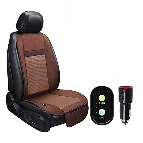 HYLH Refrigeración Cojín del Asiento del automóvil Confort/Absorción del Sudor Almohada de Seda de Verano Aire Acondicionado Refrigeración rápida Temperatura Ajustable 12V / 24V (Color: Marrón)