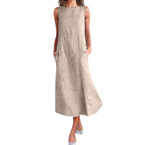 MAYOGO Sommarklänningar damer klänning damer sommar lång elegant chic randig klänning bomull linne klänning kort ärmad/ärmlös lös klänning vardagsklänning avslappnad sommarklänning med väska, vadlängd, Kaki B, L