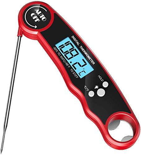 LG&S Thermomètre à Viande, thermomètre de Cuisson numérique étanche, thermomètre Alimentaire avec Une Grande précision instantanée sonde de Lecture pour Cuisine, Barbecue, Lait,Rouge
