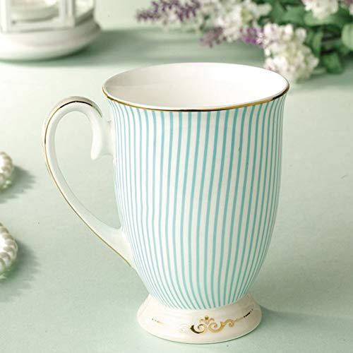 ZSAIMD Kaffeetassen und Vergoldung Keramik Teetasse Mode gestreiften Design mit Griff Teetassen/Cappuccino-Tassen/Espressotasse mit Griffen (300ml)