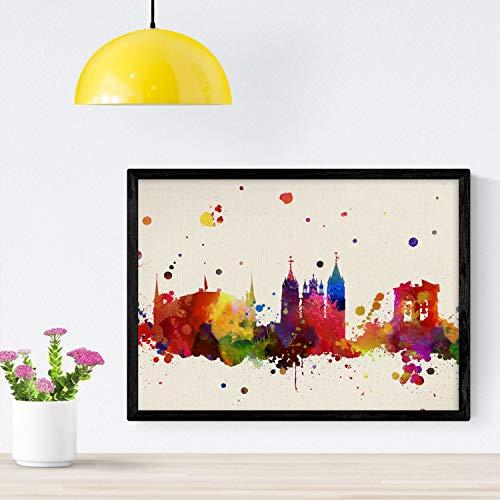 Nacnic Poster de Leon. Láminas e Ilustraciones de Ciudades, comunidades, y mapas de España. Tamaño A4 con Marco