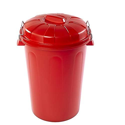 PLASTIFORTE Cubo de Basura con Tapa 100 litros basurero Rojo Asas de presión
