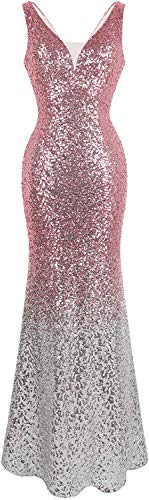 Angel-fashions Mujer Lentejuela Vestido de Noche Gatsby Flapper (X-Large, Plata Rosada)