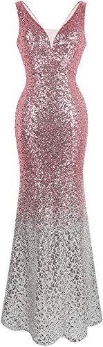 Angel-fashions Women's V Neck Glitter Sequin Gatsby 20s Flapper Evening Dress (M, Pink Silver)