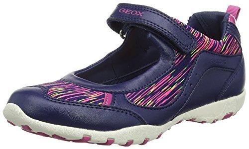 Geox Damen JR Freccia A Riemchenballerinas, Blau (Navy/Fuchsia), 39 EU