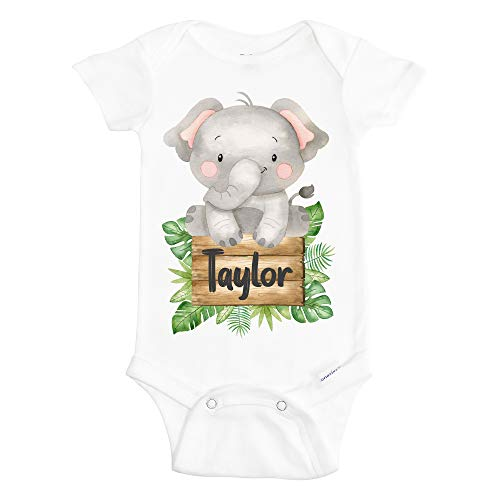Elephant Onesie for Girl - Personalized Elephant Onesies for Baby Girls - Cute Elephant Baby Clothes - 100% Cotton Bodysuit with Name