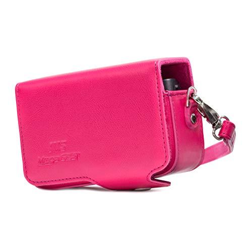 MegaGear MG1210 Sony Cyber-shot DSC-HX99, DSC-HX95, DSC-HX90V, DSC-HX80, DSC-WX500 Custodia in finta pelle per Fotocamera con Tracolla - Rosa