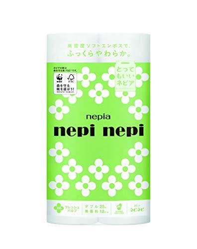 ネピア ネピネピ トイレットロール 12ロール ダブル (2枚重ね 25m巻) 無香料