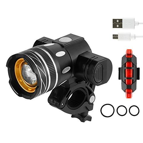 Beenle-Icey Fahrradlicht Set, Ultra Lange Distanz Fahrradbeleuchtung, USB Wiederaufladbare Frontlicht, Wasserdicht Fahrrad Licht (Frontlicht+Rücklicht A)