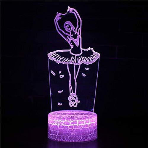 3D Bailarina ilusión Optica Lámpara Luz Nocturna 7 Colores Cambiantes Touch USB de Suministro de Energía Y remota Decoración de dormitorios infantiles juguetes regalos de cumpleaños
