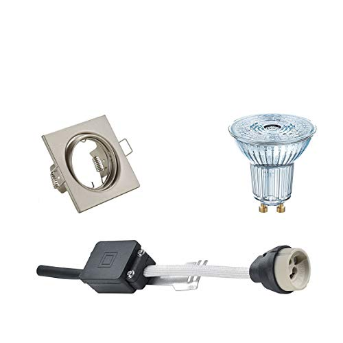 OSRAM - LED Spot Set - Parathom PAR16 927 36D - GU10 Sockel - Dimmbar - Einbau Quadratisch - Matt Nickel - 5.5W - Warmweiß 2700K - Kippbar 80mm