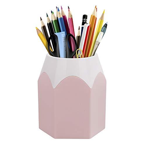 Süß Stifteköcher Stiftbehälter Stiftebox Stiftbecher Schreibtisch Organizer aus Kunststoff, Rosa (Hellrosa)