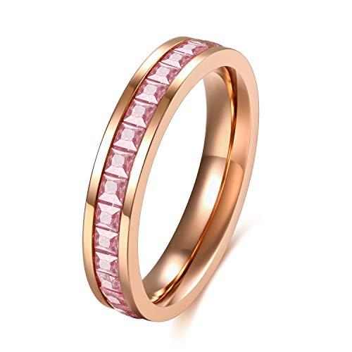 SFK (シフク) ジルコニア リング レディース 婚約 結婚 指輪 幅 3mm シルバー ピンクゴールド ピンキーリング 可愛い (ピンク12)