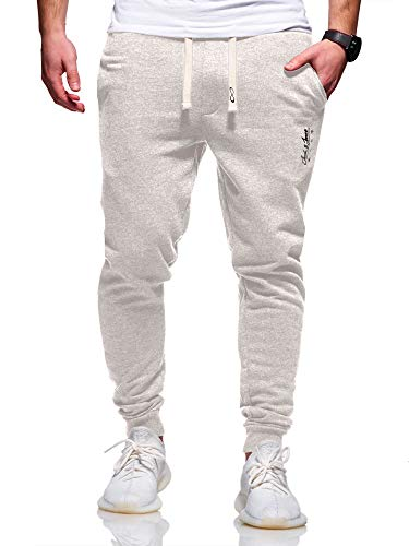 JACK & JONES Herren Jogginghose Sweat Pants Trainingshose Freizeithose Joggers Streetwear (XXX-Large, White Melange)
