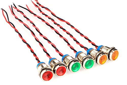 GUUZI 6 Piezas 12V-24V 10mm Panel LED Piloto Dash Luz de Advertencia Indicador Lámpara Coche Van Barco Luz Indicadora Lámpara Piloto Dash Bombillas direccionales (Rojo/Amarillo/Verde)