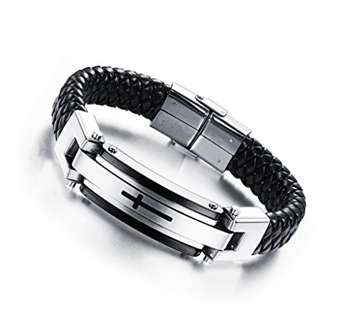 Feraco Mens Leather Cross Bracelets Christian Religous Stainless Steel Bracelet for Confirmation Gifts, 8.66 inch Black