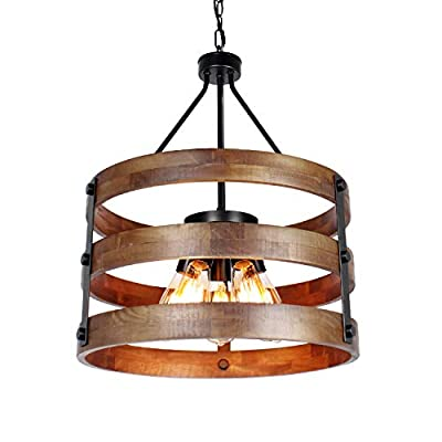 JHLBYL Farmhouse Chandeliers 5 Lights Rustic Circular Wooden Chandelier Industrial Vintage Ceiling Light Fixture Island Pendant Lighting for Kitchen Dining Room