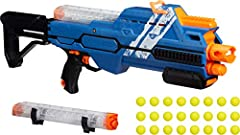 Experience the intensity of Nerf rival competitions with the hypnos xix-1200 blaster Features a folding stock to create a Compact configuration for close spaces, portability, and storage Comes with two 12-Round magazines, 24 high-impact rounds, and 2...